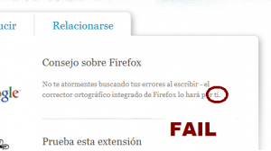 Firefox se equivoca al venderte el corrector ortográfico