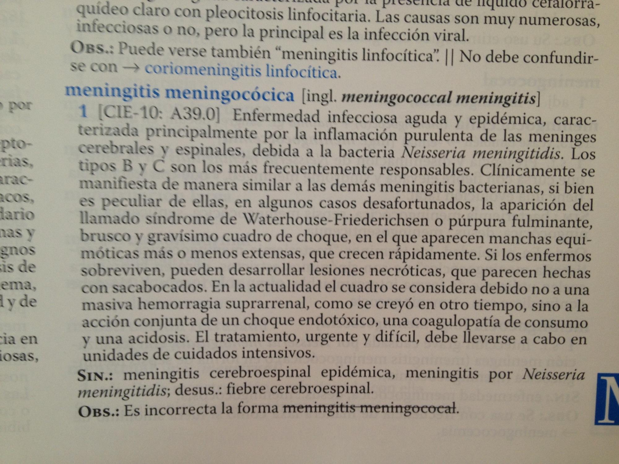 Diccionario de Términos Médicos, entrada meningitis menigocócica.